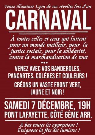 Le 7décembre, illuminons Lyon de nos révoltes lors d'un CARNAVAL